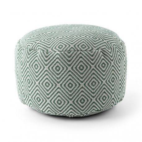 Pouffe CYLINDER 50 x 50 x 50 cm Boho 21844 footrest, for sitting cream / green