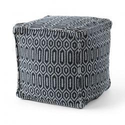 Puff carré 50 x 50 x 50 cm Pouf Boho 22075 repose-pieds, siège en laine noir / gris clair