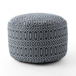 Puff CYLINDRE 50 x 50 x 50 cm Pouf Boho 22075 repose-pieds, siège en laine noir / gris clair