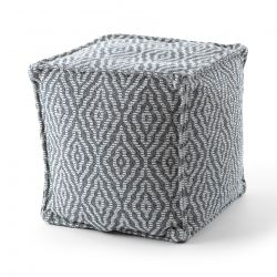 Pouff PATRAT 50 x 50 x 50 cm suport pentru picioare Boho 22084, pentru șezut antracit / crema