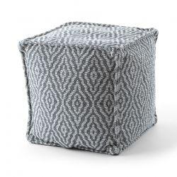 Puff carré 50 x 50 x 50 cm Pouf Boho 22084 repose-pieds, siège en laine anthracite / crème