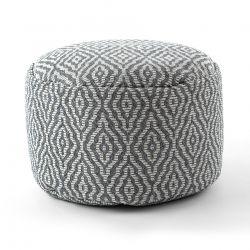 Puff CYLINDRE 50 x 50 x 50 cm Pouf Boho 22084 repose-pieds, siège en laine anthracite / crème