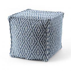 Puff carré 50 x 50 x 50 cm Pouf Boho 22084 repose-pieds, siège en laine bleu foncé / crème