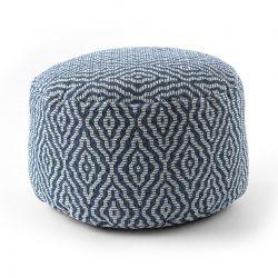 Puff CYLINDRE 50 x 50 x 50 cm Pouf Boho 22084 repose-pieds, siège en laine bleu foncé / crème