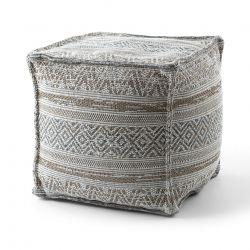 Puff carré 50 x 50 x 50 cm Pouf Boho 2806 repose-pieds, siège en laine, crème / taupe