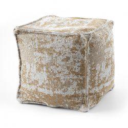 Puff carré 50 x 50 x 50 cm Pouf Boho 2809 repose-pieds, siège en laine, crème / jaune