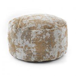 Puff CYLINDRE 50 x 50 x 50 cm Pouf Boho 2809 repose-pieds, siège en laine, crème / jaune