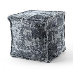 Puff Quadrato 50 x 50 x 50 cm Pouf Boho 2809 poggiapiedi, sedile di lana, grigio chiaro / antracite