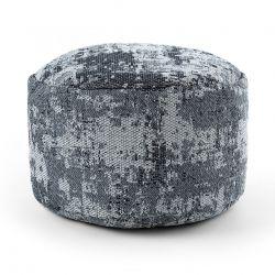 Puff CYLINDRE 50 x 50 x 50 cm Pouf Boho 2809 repose-pieds, siège en laine, gris clair / anthracite