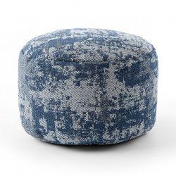 Puff CYLINDRE 50 x 50 x 50 cm Pouf Boho 2809 repose-pieds, siège en laine, gris clair / bleu foncé