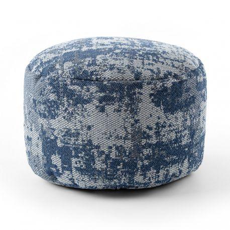 Pouffe CYLINDER 50 x 50 x 50 cm Boho 2809 footrest, for sitting light grey / navy