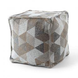 Puff carré 50 x 50 x 50 cm Pouf Boho 2816 repose-pieds, siège en laine, crème / taupe