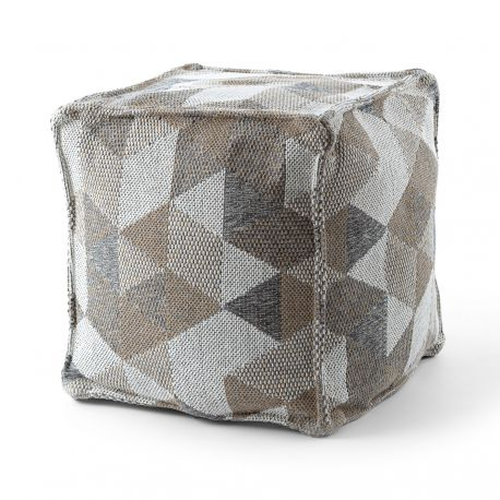 Pouffe SQUARE 50 x 50 x 50 cm Boho 2816 footrest, for sitting cream / taupe