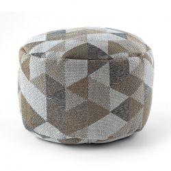Puff CYLINDRE 50 x 50 x 50 cm Pouf Boho 2816 repose-pieds, siège en laine, crème / taupe