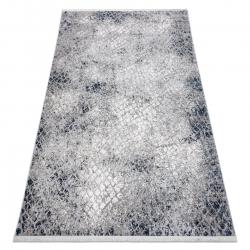 Tapete moderno REBEC franjas 51117 - dois níveis de lã cinza creme / azul escuro