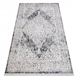 Modern carpet REBEC fringe 51122A - two levels of fleece cream / navy