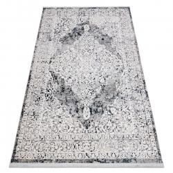 Moderní koberec REBEC 51122A střapce, dvě vrstvy rouna, recyklovatelná bavlna, krémový, tmavě modrý