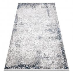 Moderní koberec REBEC 51172A střapce, dvě vrstvy rouna, recyklovatelná bavlna, krémový, tmavě modrý