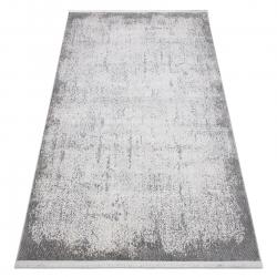 Tapis moderne REBEC franges 51188A - deux niveaux de molleton crème / gris