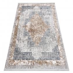 Tapete moderno REBEC franjas 51191B - dois níveis de lã cinza creme / azul escuro