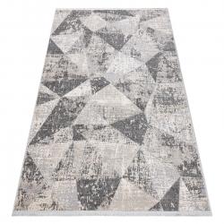 Tapete moderno REBEC franjas 51192A - dois níveis de lã cinza creme / cinzento