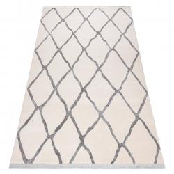 Tapete moderno REBEC franjas 51135A - dois níveis de lã cinza creme