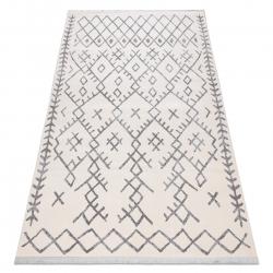 Tapete moderno REBEC franjas 51136A - dois níveis de lã cinza creme