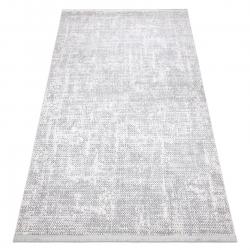 Tapete moderno REBEC franjas 51195A - dois níveis de lã cinza creme