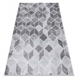 Moderní MEFE koberec B400 vzor kostka, geometrický 3D - Strukturální, dvě úrovně rouna tmavo-šedý