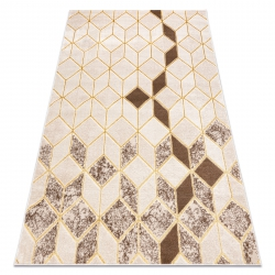 Modern MEFE carpet B400 Cube, geometric 3D - structural two levels of fleece cream / beige