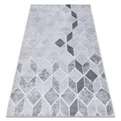 Moderní MEFE koberec B400 vzor kostka, geometrický 3D - Strukturální, dvě úrovně rouna šedá