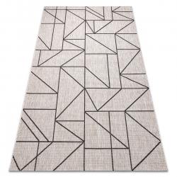 Ковер шнуровой SIZAL FLOORLUX 20605 серебро / черный / бежевыйтреугольники, геометрический