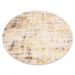 Dywan MEFE nowoczesny Koło 8722 Linie vintage przecierany - Strukturalny, dwa poziomy runa beż / złoty