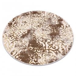 Dywan MEFE nowoczesny Koło 8724 Ornament, vintage przecierany - Strukturalny, dwa poziomy runa beż / złoty
