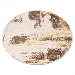 Dywan MEFE nowoczesny Koło 8731 Rozeta vintage przecierany - Strukturalny, dwa poziomy runa beż