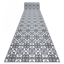 Tapis de couloir ARGENT FLEURS - W4949 blanc / gris