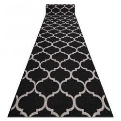 CHODNIK SIZAL FLOORLUX wzór 20608, koniczyna marokańska, trellis czarny / srebrny
