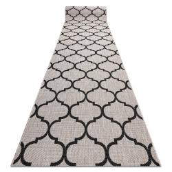 CHODNIK SIZAL FLOORLUX wzór 20608, koniczyna marokańska, trellis srebrny / czarny
