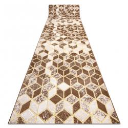 Tapis de coluoir Structural B400 Cube, géométrique 3D, cadre deux niveaux de molleton beige
