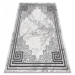 Modern NOBLE carpet 1517 65 Frame, Greek, marble - structural two levels of fleece cream / grey