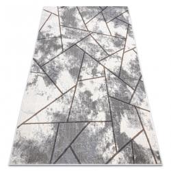 Tapis NOBLE moderne 1518 67 vintage, géométrique - Structural deux niveaux de molleton crème / gris
