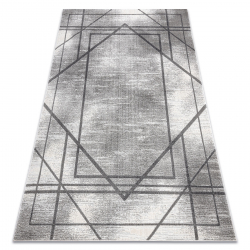 Dywan NOBLE nowoczesny 1520 45 Przecierany, geometryczny, linie - Strukturalny, dwa poziomy runa szary