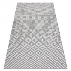 Ковер SIZAL FLAT 48607637 квадраты диаманты серый / пломбир