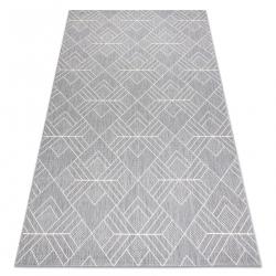Ковер SIZAL FLAT 48731637 квадраты диаманты, геометрический серый / пломбир
