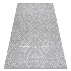 Teppich FLAT SISAL 48731637 Quadrate Diamanten, geometrisch grau / creme