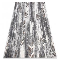 Tapis NOBLE moderne 9732 47 Chevrons vintage - Structural deux niveaux de molleton gris / beige