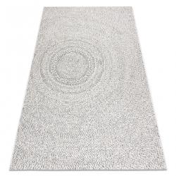 Ковер SIZAL FLAT 48832367 круги, точки пломбир / серый
