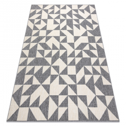 Carpet SPRING 20414332 triangles sisal, looped - grey / cream
