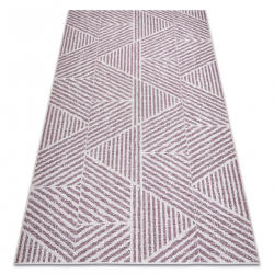 Tapete COLOR 47176260 SISAL linhas, triângulos, ziguezague bege / corar rosa