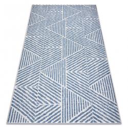 Carpet COLOR 47176360 SISAL lines, triangles, zigzag beige / blue